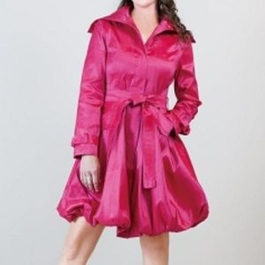 Samuel Dong Raspberry Bubble Hem Trench